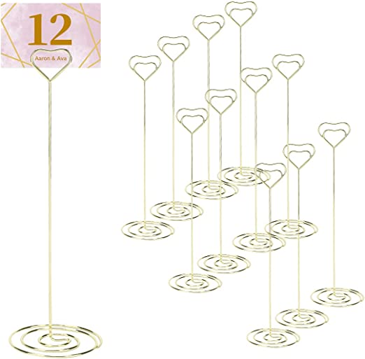 12pcs U Shaped Wedding Table Number Place Name Card Photo Clip Stand Holder