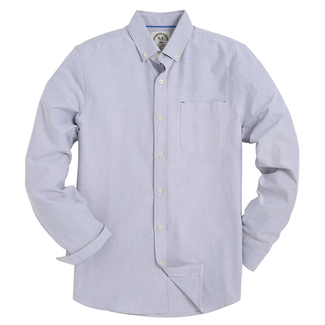 Men's Long Sleeve Shirt Regular Fit Solid Color Oxford Casual Button Down Dress Shirt CS-1602