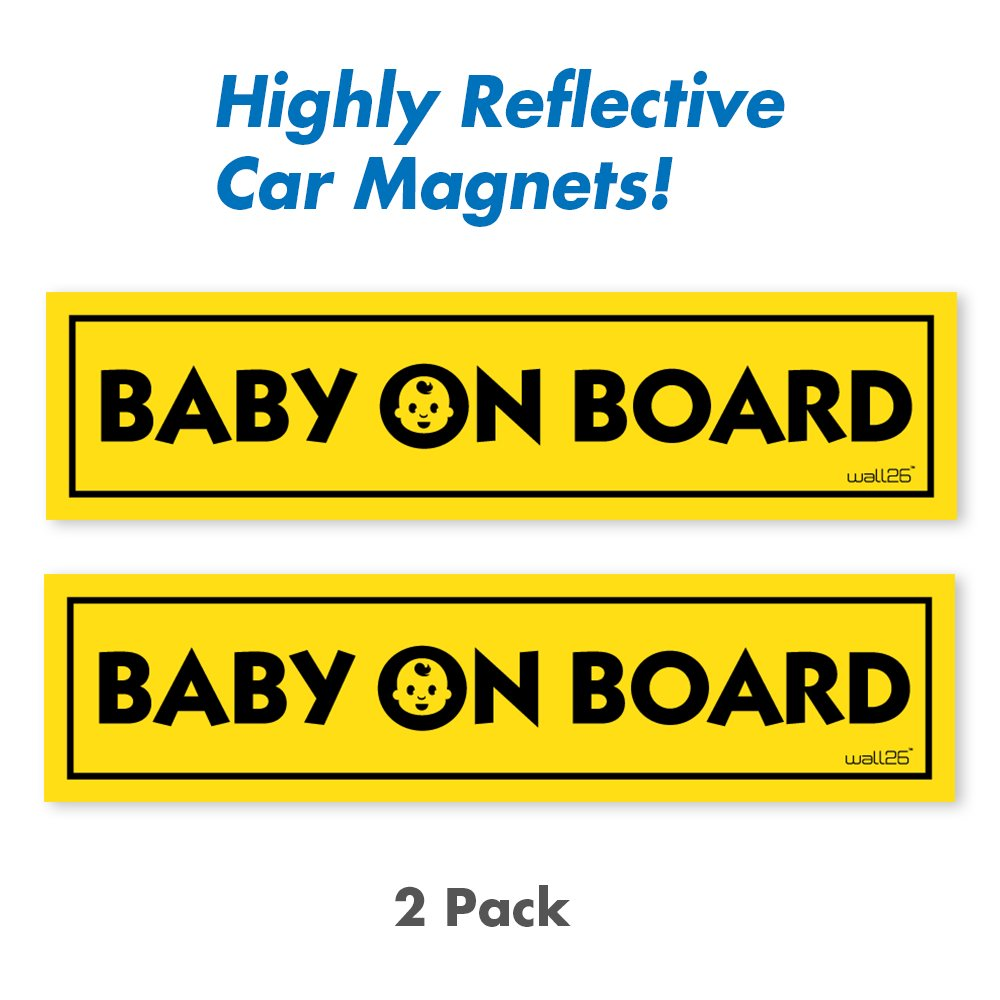 Wall26 Reflective Baby On Board Magnetic Car Signs/ Bumper Stickers(Set of 2) Safety Caution Sign MGNT-BABY_ONBOARD-3x12x2@FBA