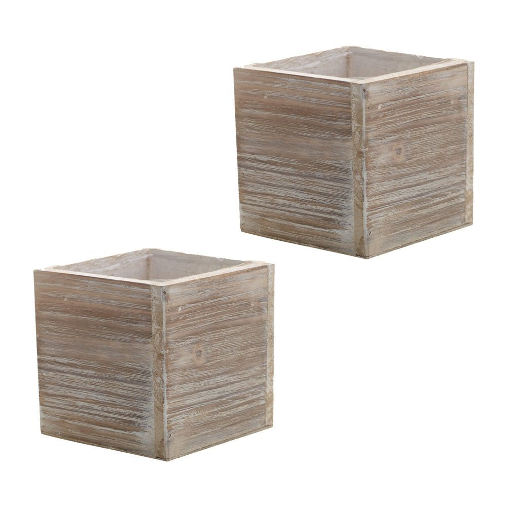 Wood Planter Box, Rustic Whitewash, 6 Inch, Wedding Decor and Floral Arrangements, Country House Charm, Plastic Liners, Wooden Square, Natural Style, (Beige) (Set of 2)