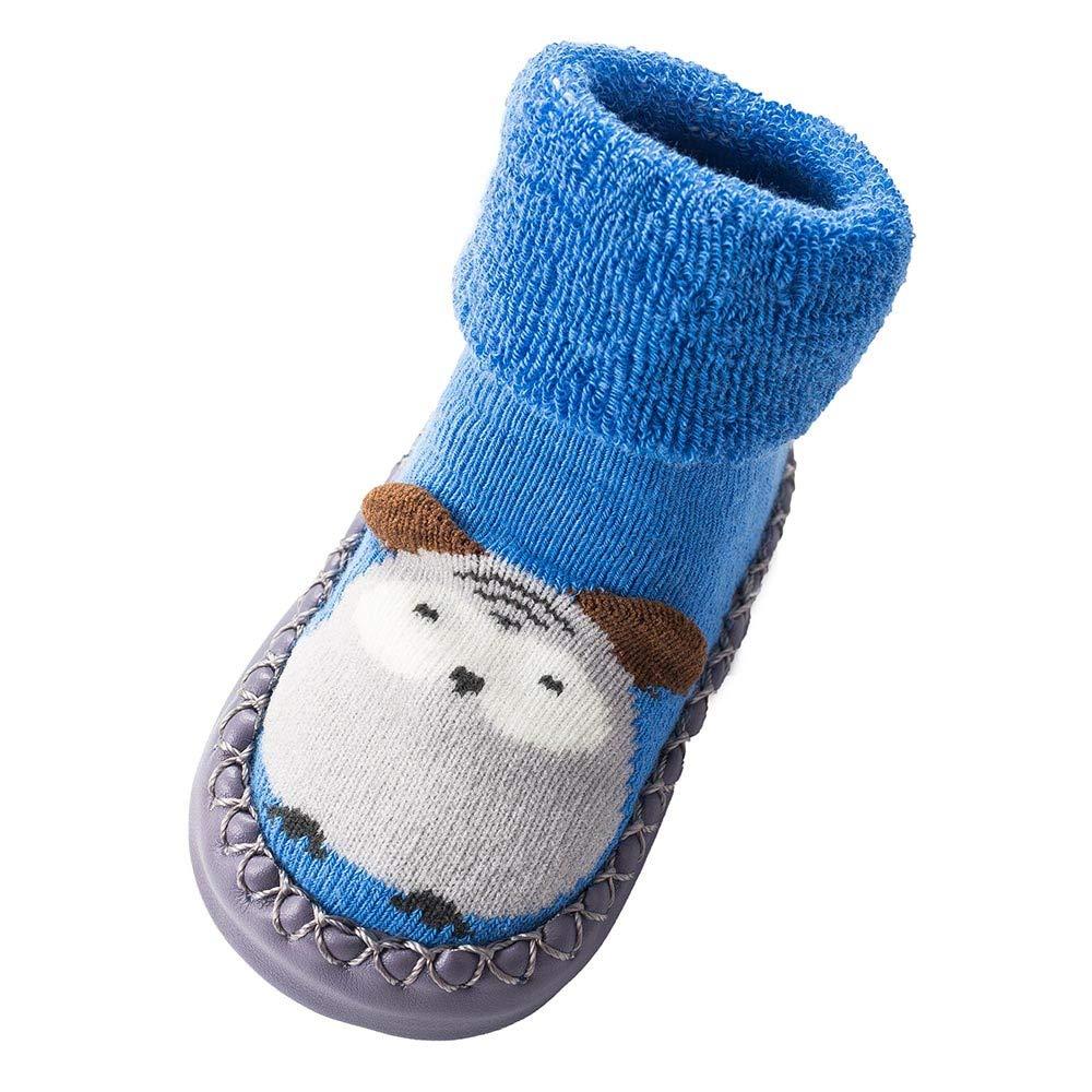 NUWFOR Newborn Baby Boys Girls Cartoon Cute Warm Floor Socks Anti-Slip Baby Step Socks(Blue,12-15Months)