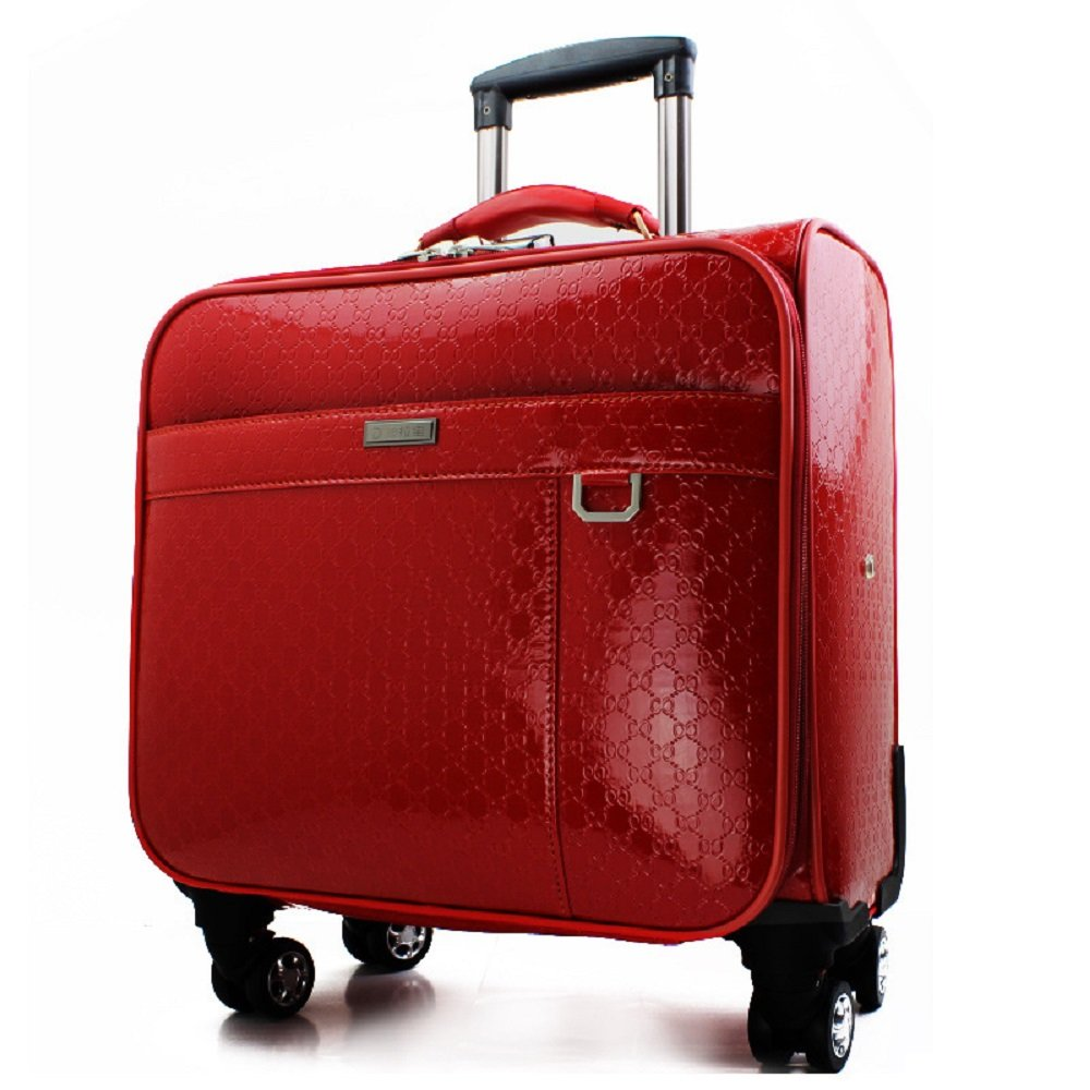 EZON-CH 4 Wheel Spinners For Any Derection Underseat Red Patent Pvc Material Carry On Plane 18IN Trolley Luggage For Travle Work Back To School