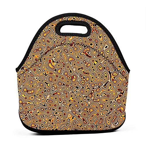 Removable Shoulder Strap Psychedelic,Abstract Golden Hallucinatory Plasma Shape Ethnic Eastern Marbleized Print, Orange Brown,wide bottom lunch bag for kids