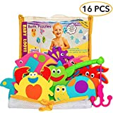 Educational Bath Toys Boys Girls - Early Learning Bath Toys - Foam Bath Toys Puzzles Animals - Fun Floating Educational Toys For Toddlers Kids - Bathtub Storage Mesh Bag-Fishing Rod Puzzle and Animal