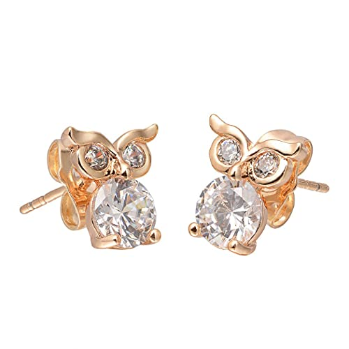 cbb9c78d2 Image Unavailable. Image not available for. Color: Romantic Time Lovely  Night Owl Zirconia Novelty 18k Rose Gold Plated Stud Earrings