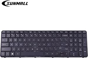 SUNMALL Mate Laptop Keyboard for HP Pavilion 250 G3,255 G3,250 G2,255 G2 15-D 15-E 15-G 15-R 15-N 15-S 15-F 15-H 15-A Series US keypad with Frame