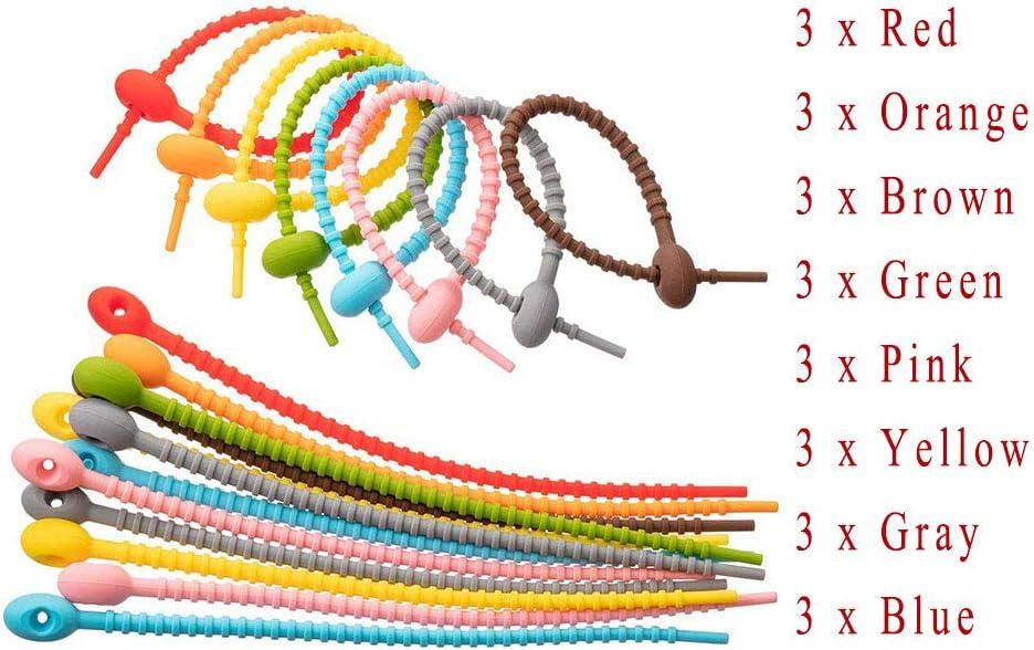 Attaches de C/âble Attaches de C/âble en Silicone Color/ées Color/é Silicone R/éutilisables Attaches Pour Attaches /économiseur de Sac Alimentaire 24 Pi/èces Attaches de C/âble en Silicone