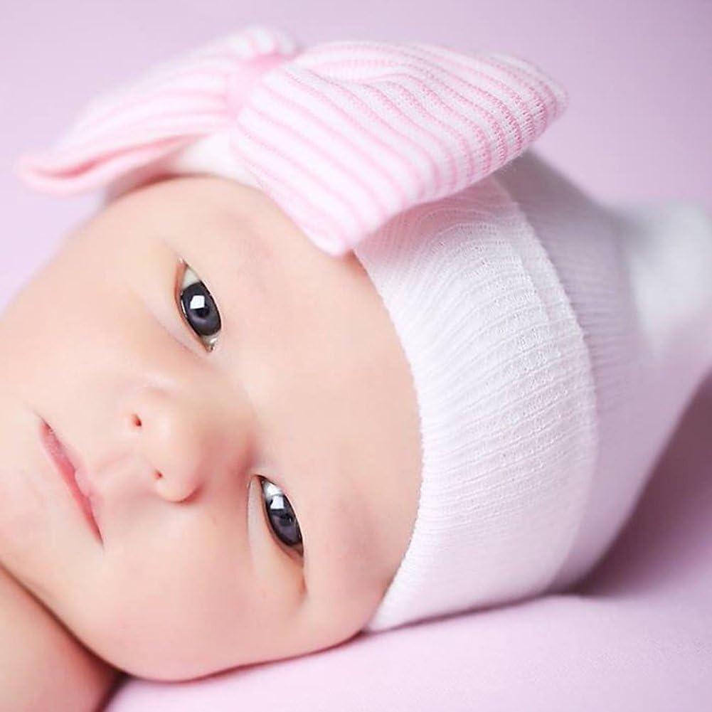 TiaoBug Newborn Baby Girl Cute Soft Hospital Beanie Hat Nursery Hat Photo Props