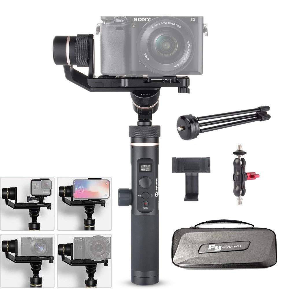 【日本語取説付き&一年間保証】Feiyu g6 Plus 3軸splash-proofスタビライザージンバル800 gペイロード12時間実行時間のミラーレスカメラ/デジタルカメラ/カメラアクションカメラ/スマートフォンW/EACHSHOT電話クリップ+ミニ三脚 (ブラック)[並行輸入品]   B07FVPSP9X