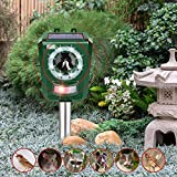 INTEY Outdoor Animal Repellent Solar Ultrasonic Cat Repeller with LED Flashlight Animal Driven