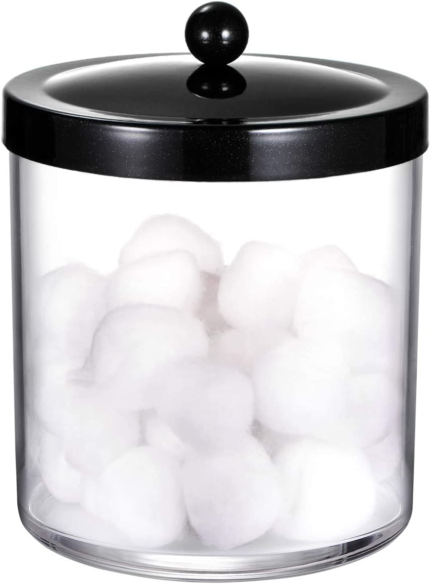 50 Ounce Large Clear Plastic Storage Container Jar with Rust Proof Stainless Steel Lid Black Premium Quality Apothecary Jar Bathroom Vanity Countertop Storage Organizer Canister