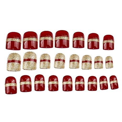 Frcolor Puntas de uñas Falsas de Navidad Cubierta Completa gradiente uñas postizas para uñas de uñas
