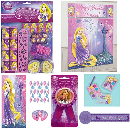 Disney Princess Tangled Rapunzel Party Supplies Pack Bundle 6 Pcs. – Wall Decorating Poster Kit, Party Game, Streamer, Mini Paint Sets, Ribbon Pin, and 48 Piece Party Favor Assortment with (2 Person Horse Costume With Rider)