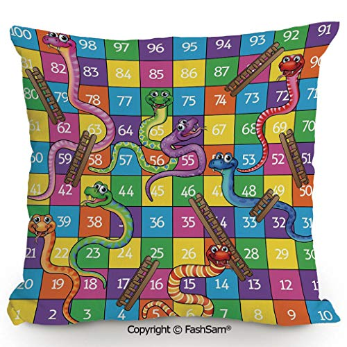 """FashSam Polyester Throw Pillow Cushion Cute Snakes Smiling Faces Numbers in Squares Ladders Childrens Kids Play Print for Sofa Bedroom Car Decorate(20"""" Wx20 L)"""