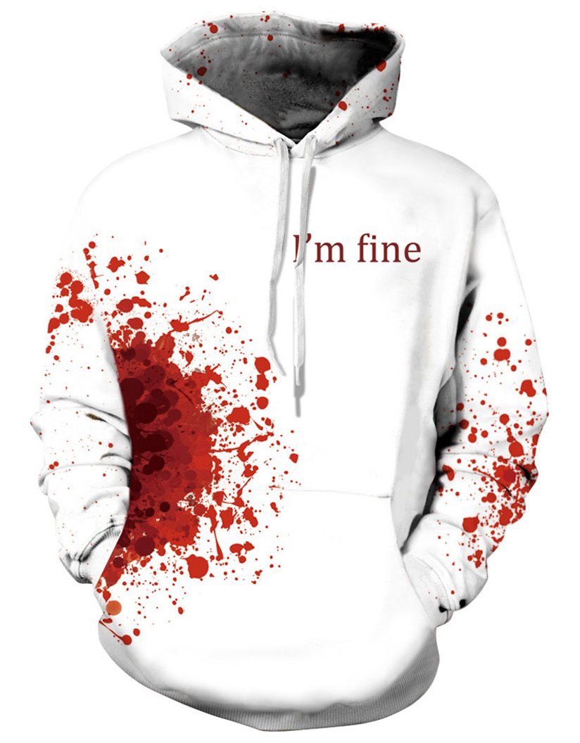 Prettyard Men Women Bloody I'm fine Saying Casual Hipster White Sweatshirt Hoodie - US(Men:M = Women:12-14/L) Ignore Our tag by Prettyard (Image #2)