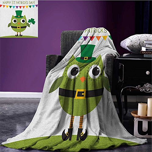 (St. Patricks Day wearable blanket Owl with Leprechaun Costume Greeting Design for Party Shamrock Pattern security blanket Multicolor size:59