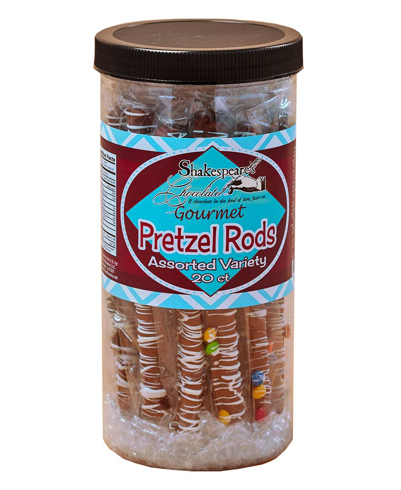Tasty Chocolate Covered Pretzels Tub - Family-Size Assorted Gourmet Pretzel Rods | Chocolate Candy Snack, Double Chocolate Overload with Mini Chocolate Chips, White Fudge, Milk Chocolate | 20 Count