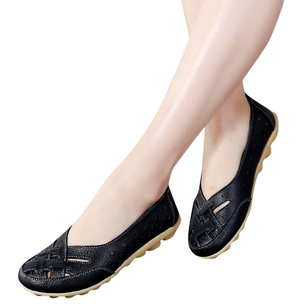 Women Flats Sandals 2019,Ladies Leather Slippers Soft Shoes Comfortable Ankle Casual Doug Shoes Black