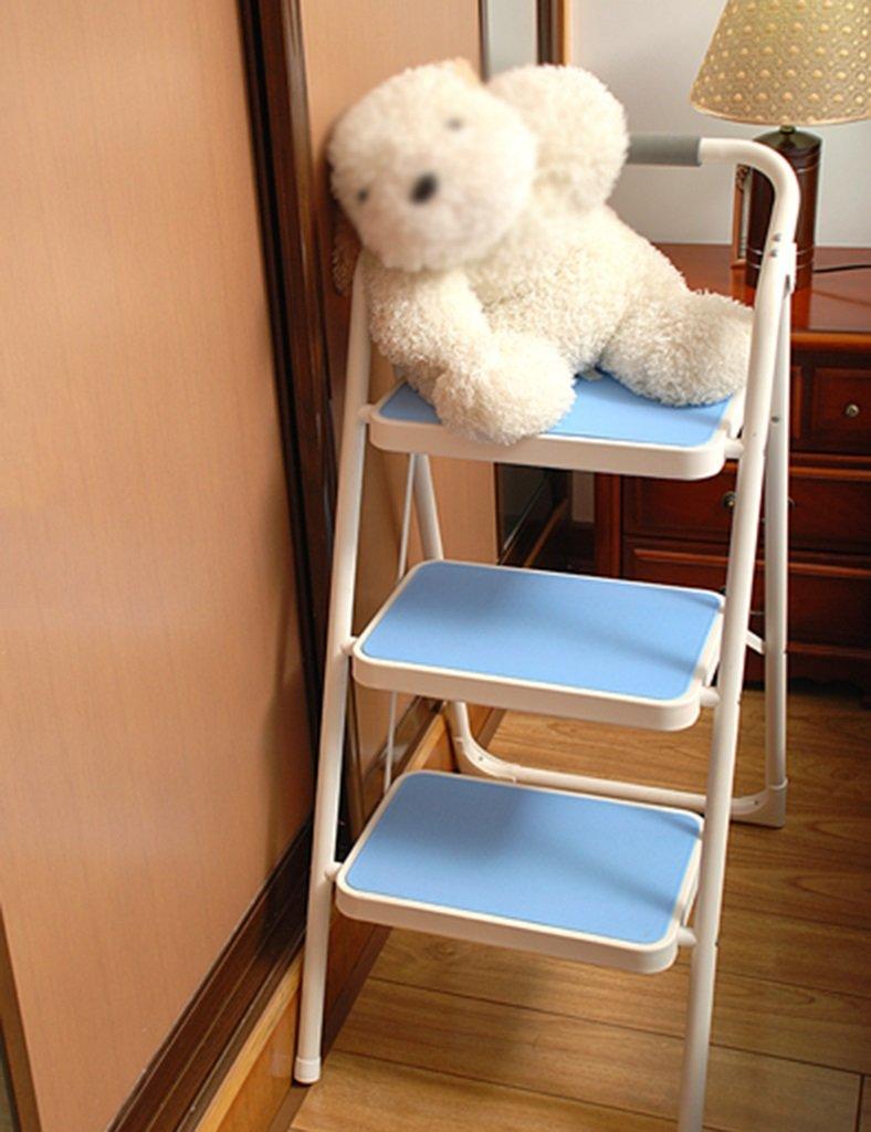 はしご便 家庭用はしごの厚さ屋内の多機能3つのステップ4つのステップのはしごペダルのはしごの移動階段の椅子エスカレーターの階段 ( 色 : 青 , サイズ さいず : スリーレイヤー ) B07CLM8W57 スリーレイヤー|青 青 スリーレイヤー
