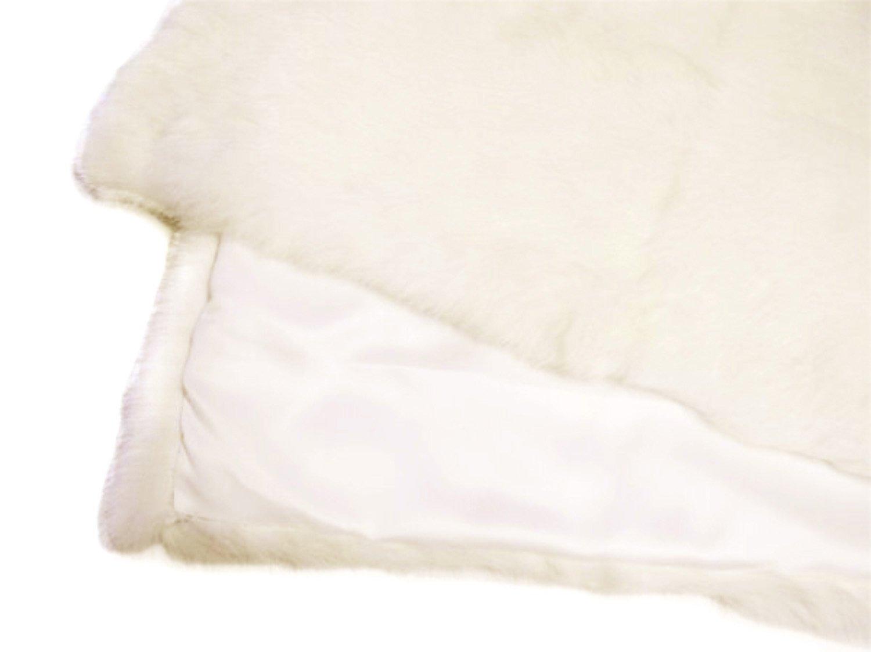 Small REX Ivory Rabbit Fur Throw w/Black Quilted Backing 20x40 B07DMYP66C Ivory Rabbit/Black Quilted Backing 20x40 inches Small