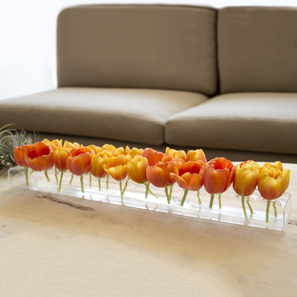 Chive - Hudson 24'' Large, Long Rectangle Unique Clear Glass Flower Vase, Long and Low Laying Elegant Centerpiece Vase, Decorative Vase for Home Decor and Weddings, one of Oprah's Favorite Things! by Chive (Image #3)
