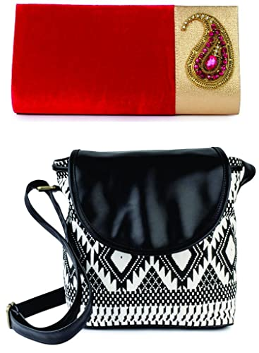 b82c9bfb6a5c6 Kleio combo of ethnic velvet Sling broach clutch & casual canvas ...