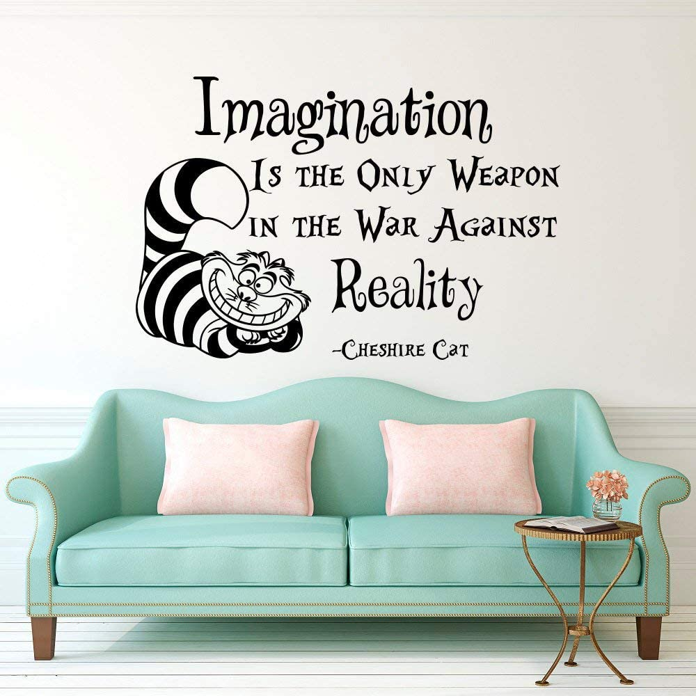 Amazon Com Wall Decal Decor Alice In Wonderland Cheshire Cat Quote Imagination Is The Only Weapon In The War Against Reality Nursery Bedroom Vinyl Wall Decor Made In Usa Kitchen Dining