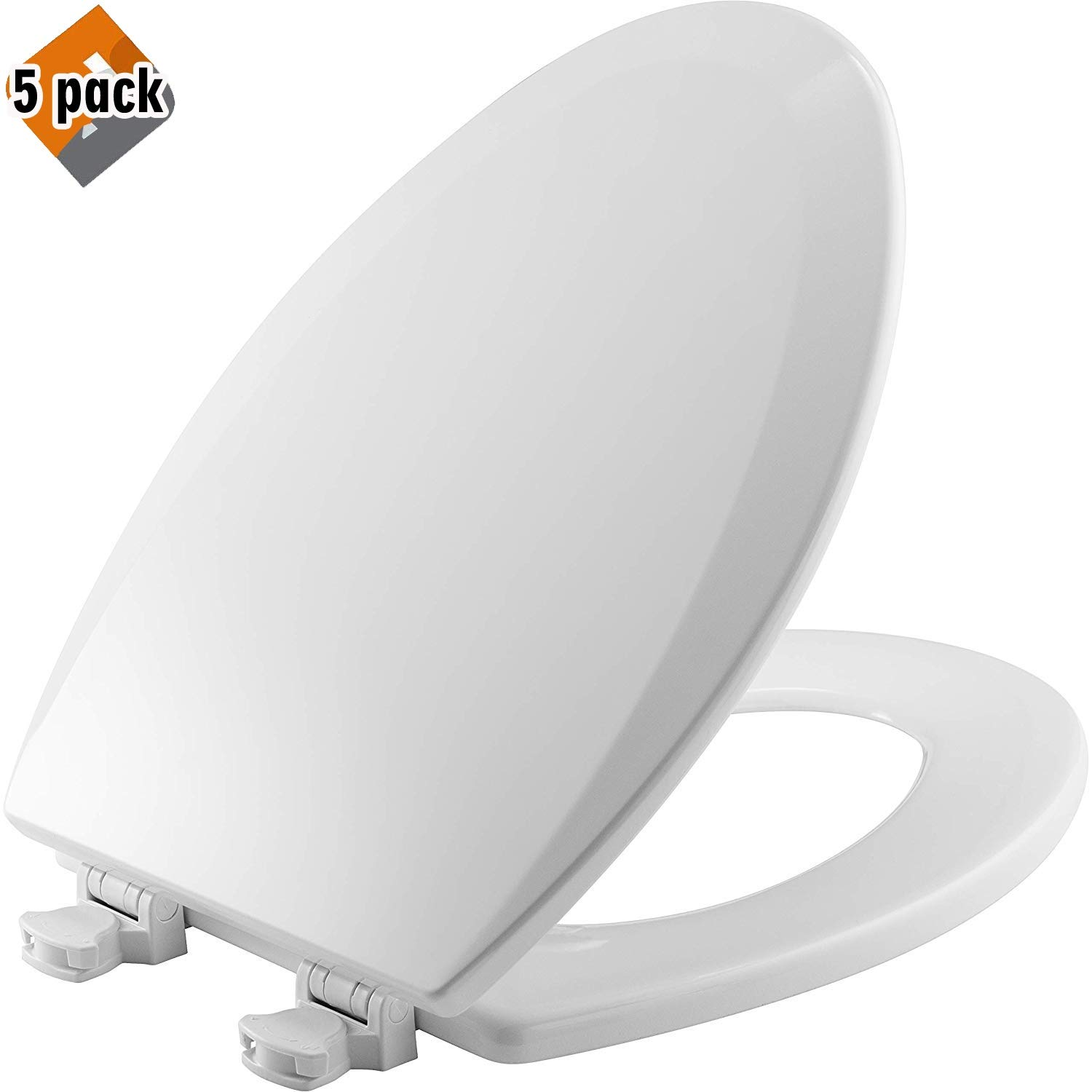 Bemis 1500EC 000 Wood Elongated Toilet Seat With Easy Clean & Change Hinge, 5 Pack by Bemis (Image #1)