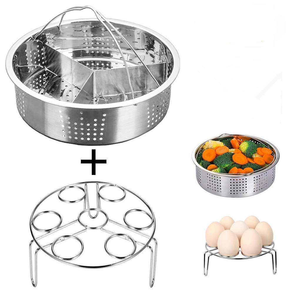3 pz/set vaporiera in acciaio INOX cestello set Instant pot Egg Steamer rack set clip Kitchen & dining Instant pot accessori Rosilyuk