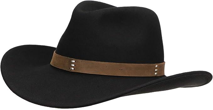 Jack Arrow Cowboy Hat Men Black Wool Felt Western Outback Gambler Wide Brim Adjustable Sizes Crushable