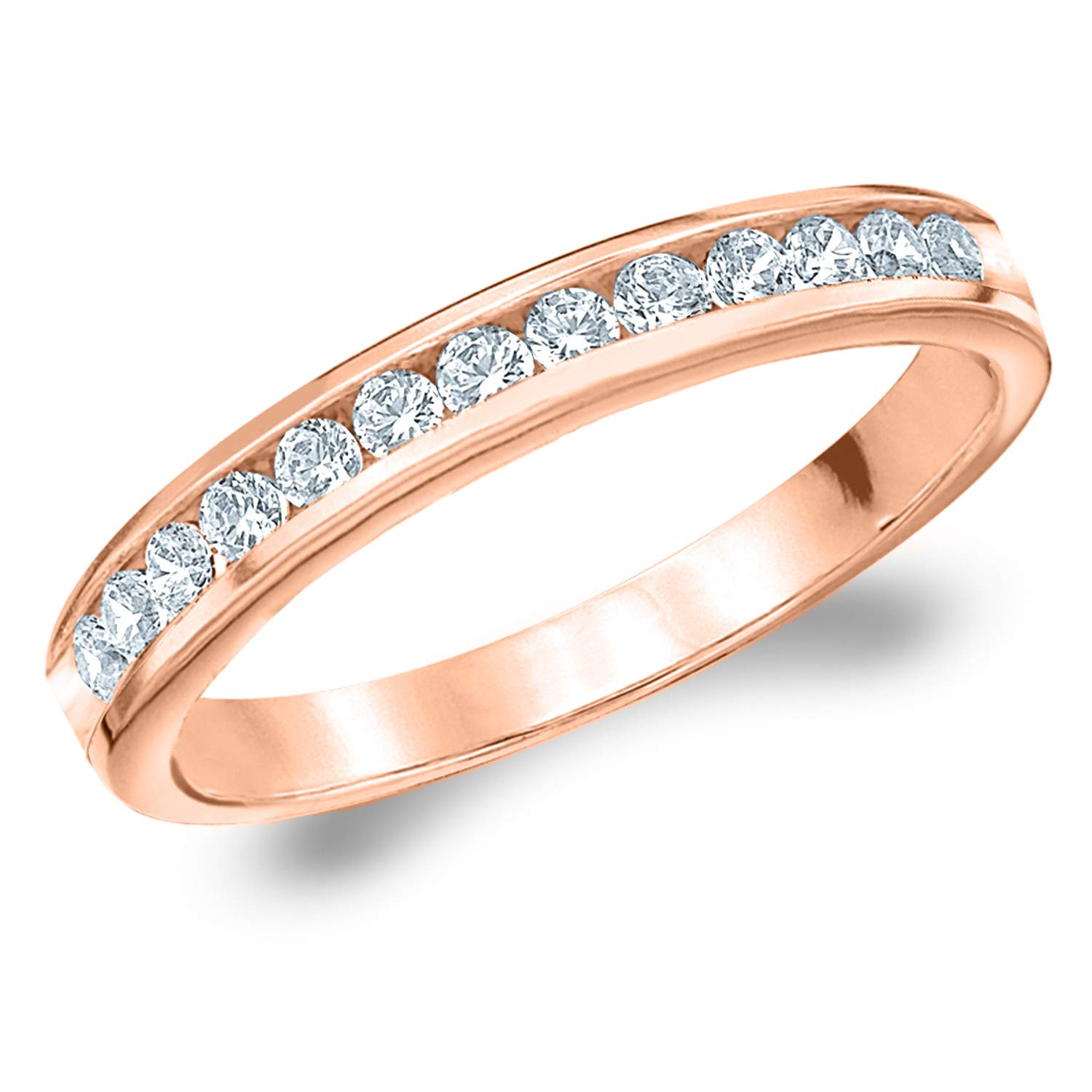 .25CT Symphony Channel Set Diamond Wedding Ring in 14K Rose Gold - Finger Size 6.5 by Eternity Wedding Bands