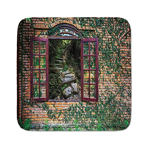 Pads Cushion Area Rug,Country Decor,House with Open Windows inside Forest View Brick Wall with Ivy Rural Print Decorative,Multicolor,Easy to Use on Any Surface ()
