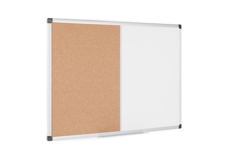 Bi-Office Maya - Pizarra Mixta Magnética y Corcho, Marco de Aluminio, 90 x 60 cm