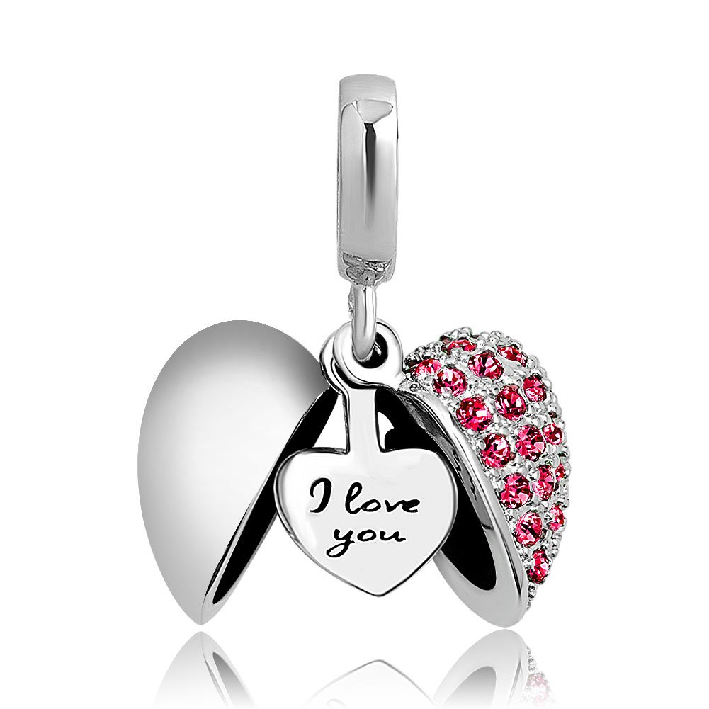 2d9d9c77a Amazon.com: ShinyJewelry I Love You Heart Charm Dangle Synthetic Blue  Crystal Bead for European Bracelet Necklace: Toys & Games
