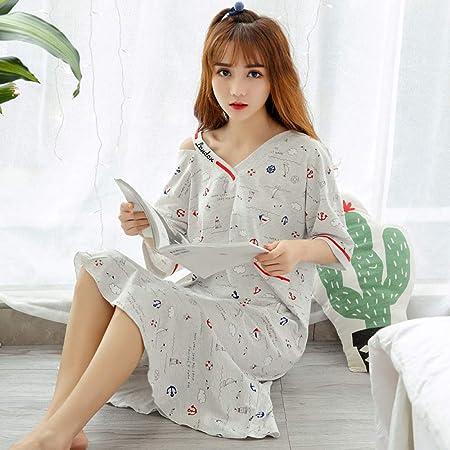Pijama Nuevo Mono de algodón de Manga Corta para Mujer camisón Femenino Lindo algodón Suelto Servicio a Domicilio 3 L: Amazon.es: Hogar