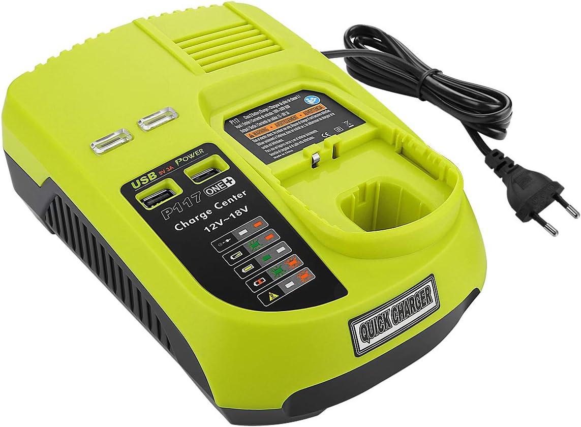 Akku-Radio CRA-180M 7,2V-18V   Grau Powery Akku-Ladegerät mit USB für Ryobi One