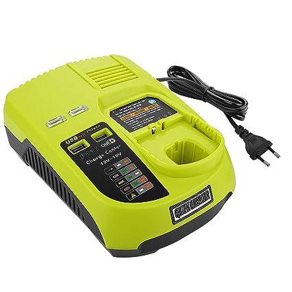 Powilling 3A 12V-18V Cargador de reemplazo para Ryobi ONE + 12V-18V Batería Ryobi recargable compatible con BCL1418 260051002 P113 P117 P118 (con dos ...