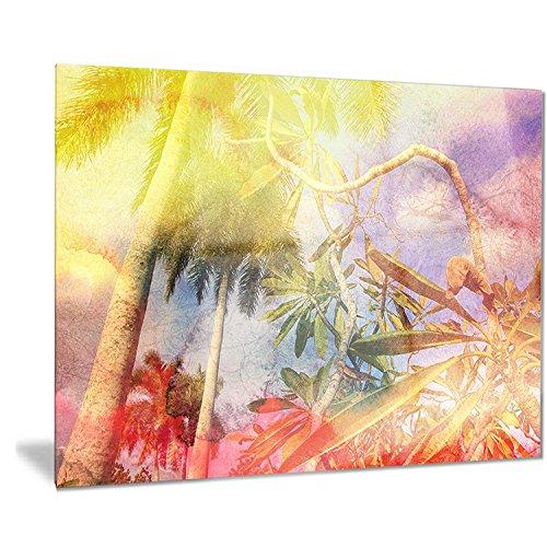 Designart Yellow Retro Palm Trees-Landscape Painting Metal Wall Art-MT7793-40x30, 30'' H x 40'' W x 1'' D 1P