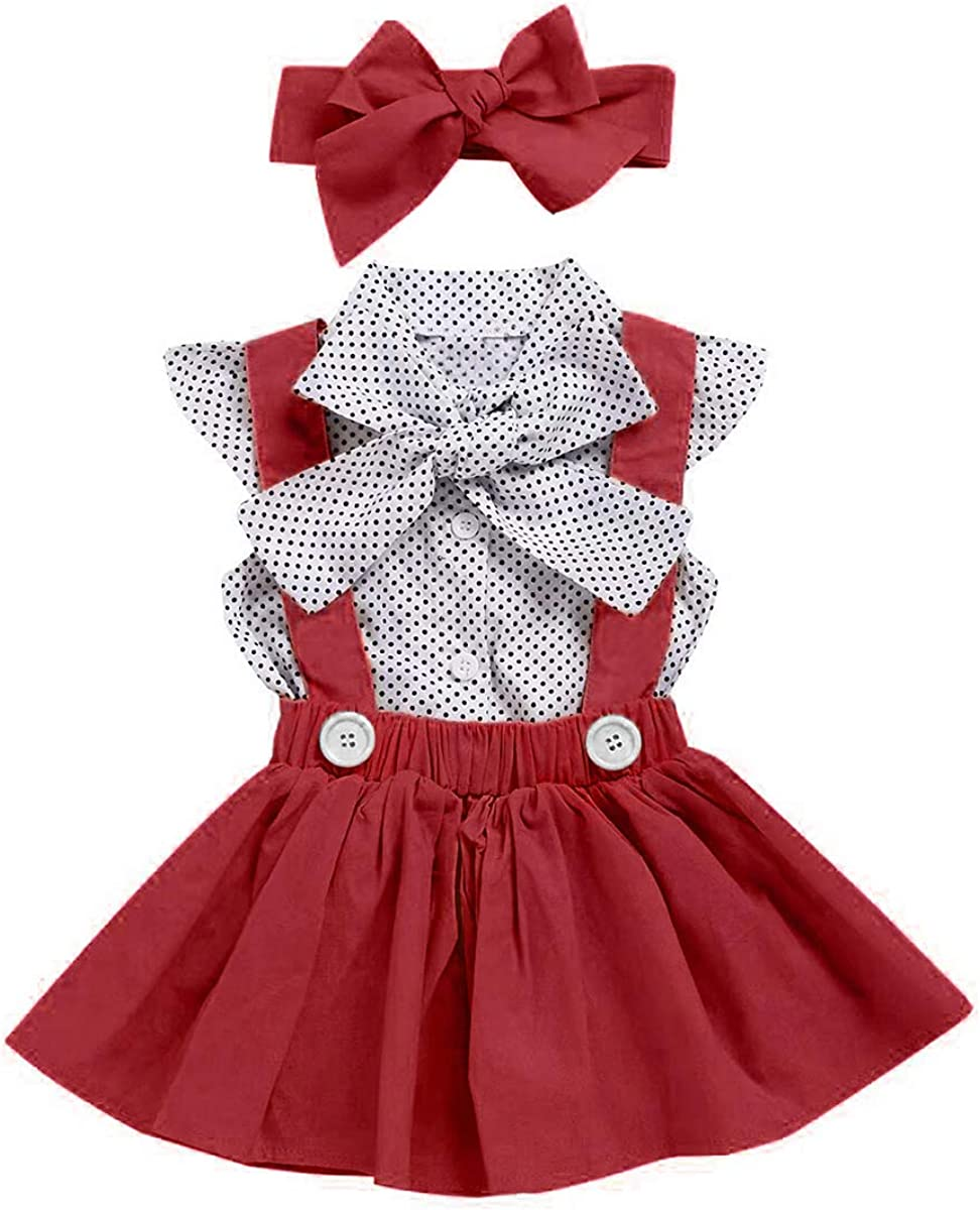 Toddler Baby Kids Girls Ruffle Spring Fall Overall Princess Dresses Clothes Set