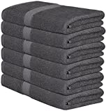 Utopia Towels 100% Cotton Gray Bath Towels Set (6 Pack, 22 x 44 Inch) Lightweight High Absorbency, Multipurpose, Quick Drying, Pool Gym Towels Set