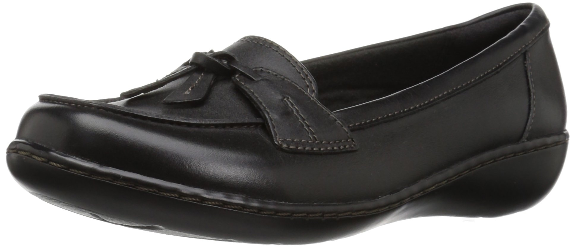 CLARKS Women's Ashland Bubble Slip-on Loafer, Black Leather, 10 W US