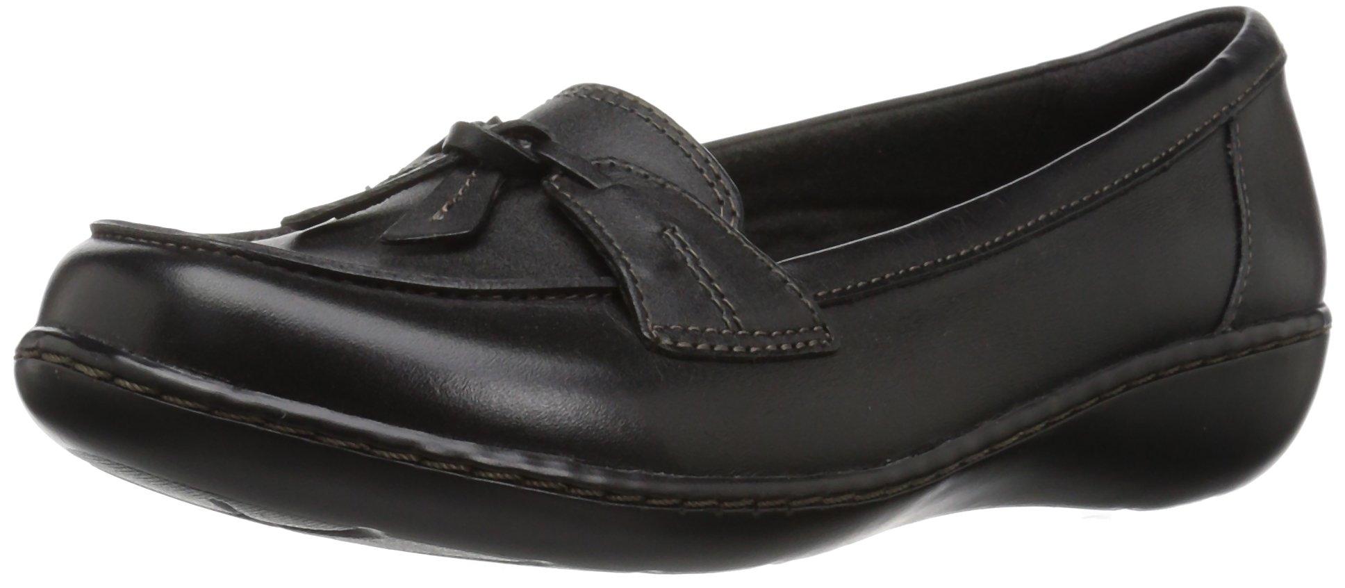 CLARKS Women's Ashland Bubble Slip-on Loafer, Black Leather, 9 W US