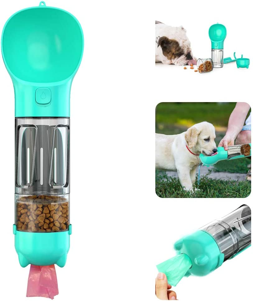 AmazeFan Dog Water Bottle for Walking, Multifunctional and Portable Dog Travel Water Dispenser with Food Container,Detachable Design Combo Cup for Drinking and Eating,Suitable for Cats and Puppy