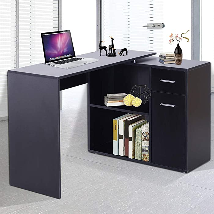 Hoolick Shipping from US 180° Rotating Corner Computer Desk L-Shaped Table Storage Shelf Drawer Combo (Black)