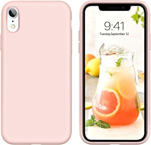 DUEDUE iPhone XR Case, Liquid Silicone Soft Gel Rubber Slim Cover with Microfiber Cloth Lining Cushion Shockproof Full Protective Case for iPhone XR 6.1 inch Cute, Pink Sand