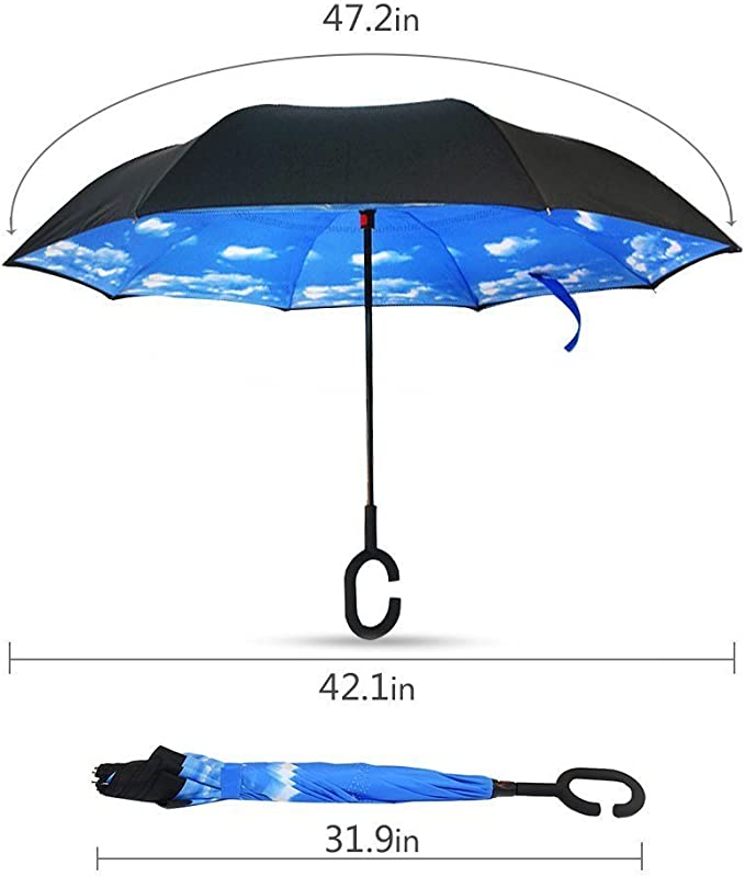 Double Layer Inverted Inverted Umbrella Is Light And Sturdy Reindeer Flat Icon Eps 10 Pattern Reverse Umbrella And Windproof Umbrella Edge Night Refl