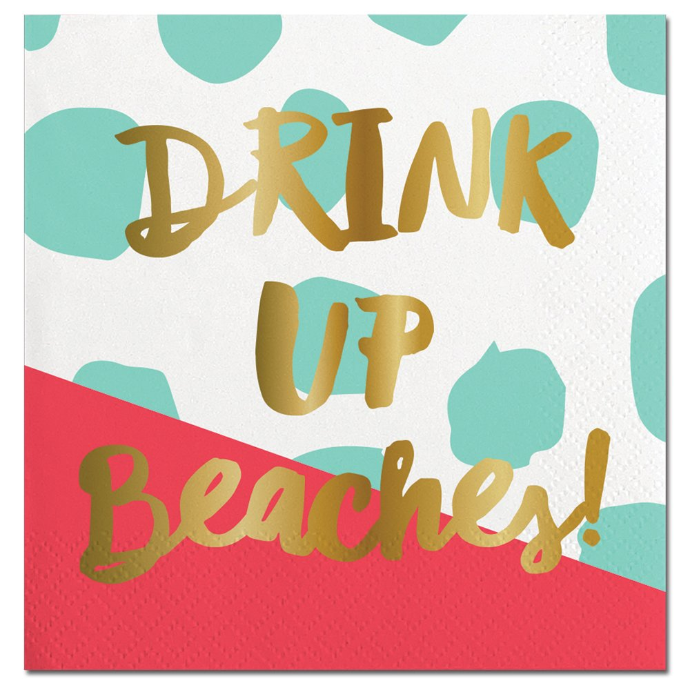 Drink Up Beaches Party Napkins (2 Sets of 20) - Coral & Turquoise Napkins with a Beautiful Gold Foil Print