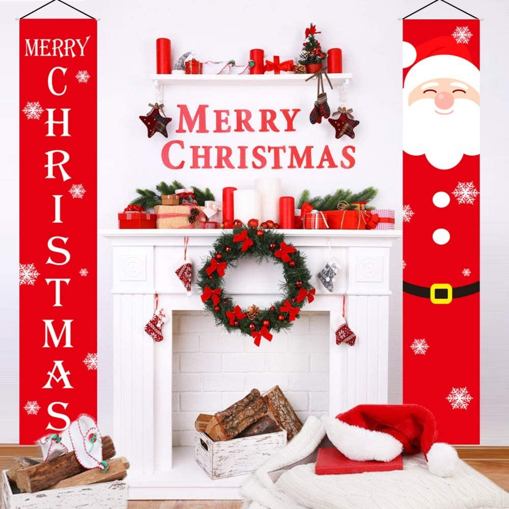 HMASYO Merry Christmas Banner - Christmas Decorations Porch Signs for Home Apartment Front Door Fireplace Wall Indoor Outdoor Xmas Hanging Decor, Satin Cloth Fabric, 72'' x 12.6''
