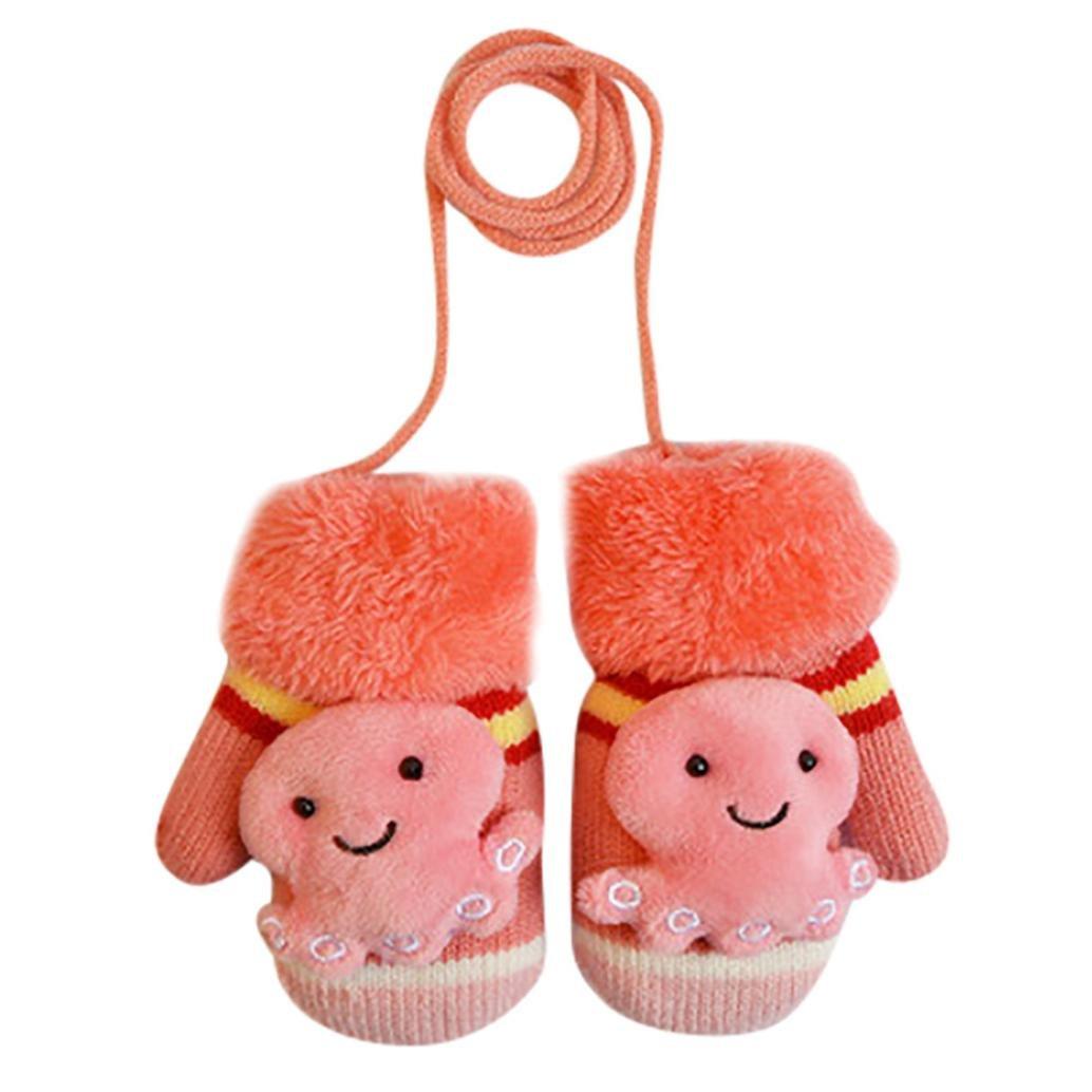 Lavany Cute Infant Baby Boy Girls Gloves Cartoon Winter Warm Mittens on a String