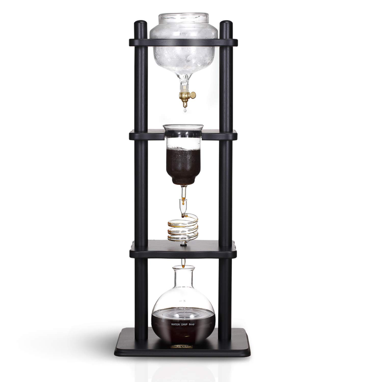 Yama Glass 6-8 Cup Cold Drip Maker Straight Black Wood YAMCDM8SBK